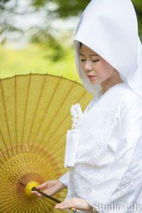 綿帽子で和装撮影