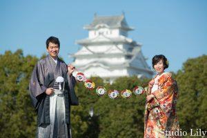 姫路城で和装ロケ